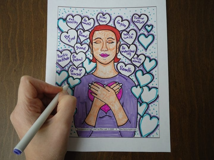 therapeutic line drawings to help you nurture self love