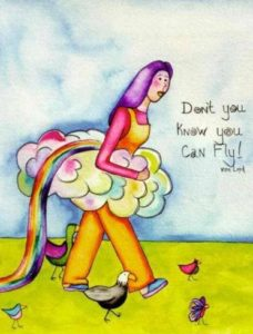 Nurturing Art greeting card - Don't You Know You Can Fly!