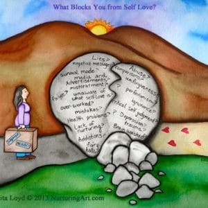 What Blocks You From Self Love? by Rita Loyd Unconditional Self Love Painting
